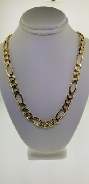 14k Yellow Gold Figaro Miami Cuban Chain Necklace for Sale in Los Angeles, CA