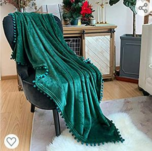 LOMAO Flannel Blanket with Pompom Fringe Lightweight Cozy Bed Blanket Soft Throw Blanket for All Season (40x30) (Emerald Green) for Sale in Las Vegas, NV