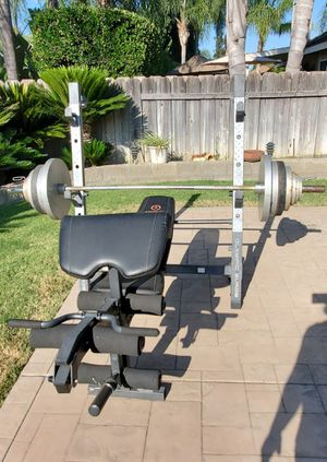 Bench/squatrack and weights for Sale in Modesto, CA