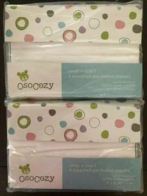 New in pkg! One Dozen Osocozy Infant diaper service prefold cloth diapers -Size 1 for Sale in Chandler, AZ