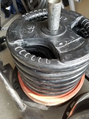 Olympic Weight Plates Various 2 inch - 45s 35s 25s - Rubber Coated Pro Grip - EXCELLENT for Sale in Mansfield, TX