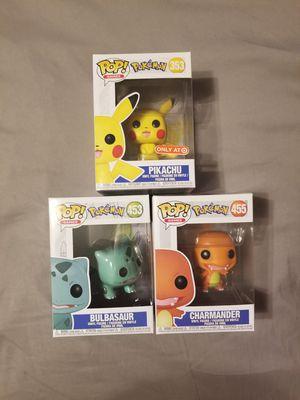 Pokemon Pikachu + Charmander + Bulbasaur Funko Pops for Sale in Norwalk, CA