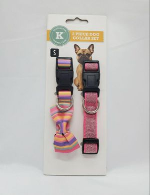Dog Collar Set 2 Pieces ,Kensington Kennel Club, Adjustable Size S Pink Color for Sale in Kissimmee, FL