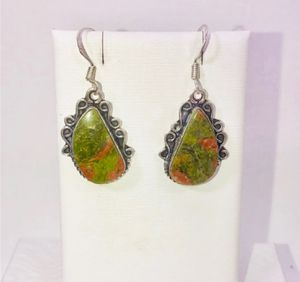 Natural bright unakite large teardrop stones & .925 stamped sterling silver dangle hook earrings NEW! for Sale in Carrollton, TX