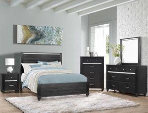 Bedroom set Queen bed +Nightstand +Dresser +Mirror. Mattress not included for Sale in Pico Rivera, CA