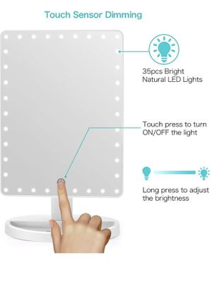 Large Lighted Vanity Makeup Mirror (X-Large Model), Funtouch Light Up Mirror with 35 LED Lights, Touch Screen and 10X Magnification Mirror, 360° Rot for Sale in Garland, TX