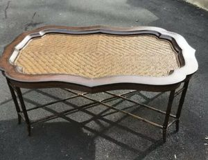 Amazing Maitland Smith Rattan & Leather Bamboo Coffee Table Removable Top $3200 for Sale in UPR MAKEFIELD, PA