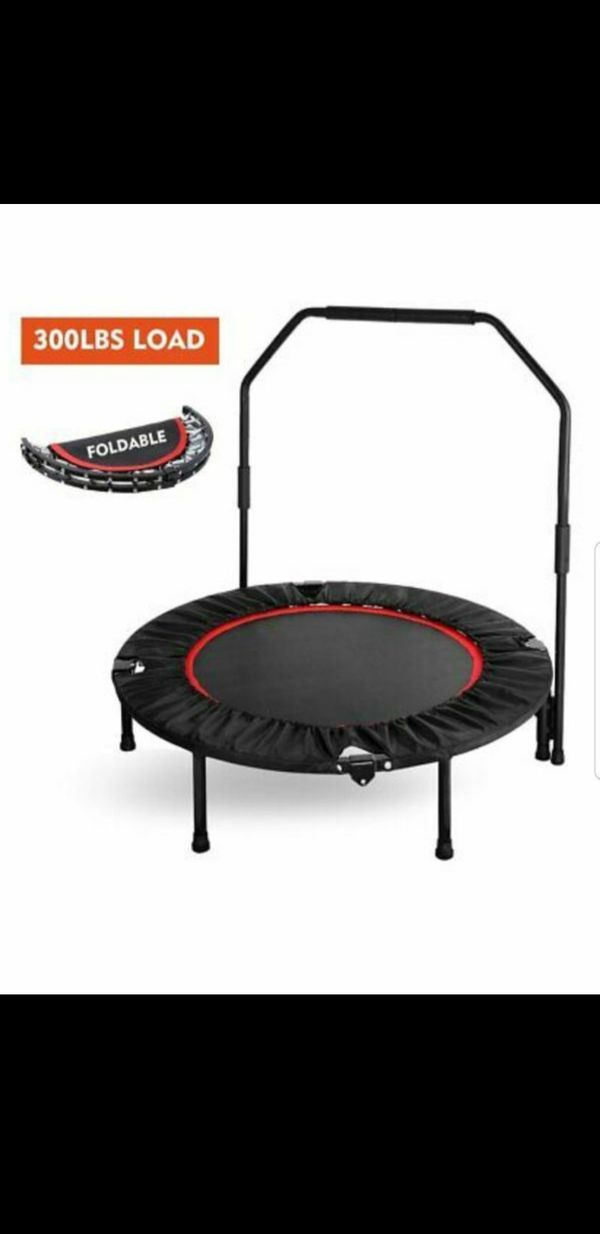 40''Mini Foldable Trampoline With Bar Urban Rebounder Bouncing Exercise Yoga Gym