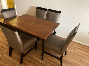 Dining room table with 5 custom made chairs. for Sale in West Palm Beach, FL