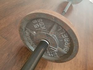 Olympic bar with 2×35pound weight plates for Sale in Houston, TX