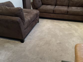 2pc Upholstered Brown Sofa Set Set includes Three Seater and Chaise for Sale in Romeoville,  IL