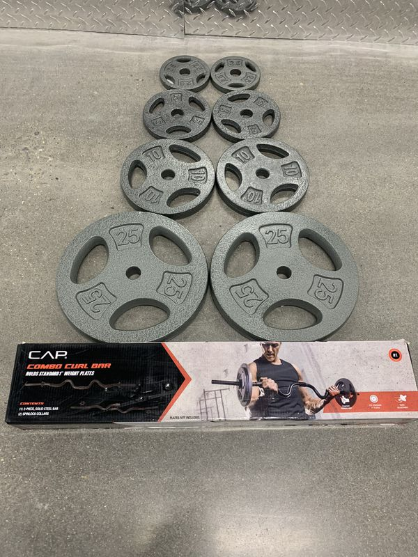 *Brand New* Adjustable Curl Bar w/85lbs of plates