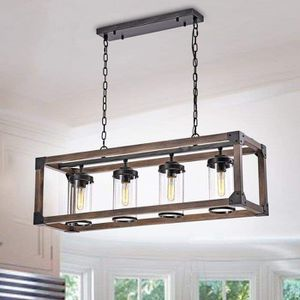 4 - Light Wrought Iron Accents Rectangle Chandelier for Sale in Fishtail, MT