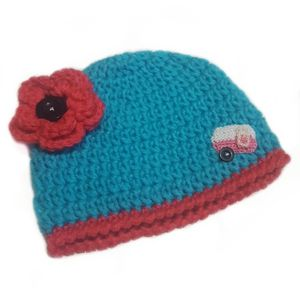 Retro RV Happy Camper Baby Girl Beanie-Crocheted for Sale in Hartford, CT