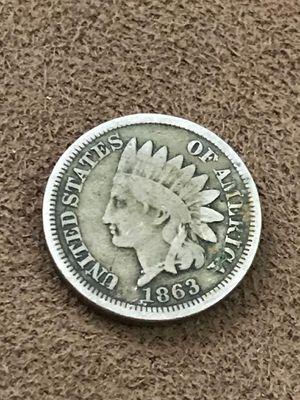 Moneda 1 Centavo Cabeza Indio 1863 Fecha Escasa Dificil 02 for Sale in Bellingham, MA