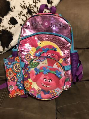 Trolls Backpack w/Lunch Box & Pencil Case for Sale in Dickinson, TX