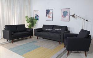 NEW, 3PC DARK GRAY LINEN LIVING ROOM SET, SOFA, LOVESEAT, CHAIR, SKU#8112 for Sale in Huntington Beach, CA