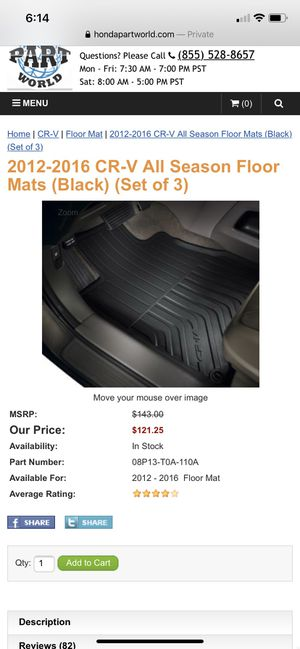 2012-2016 CR-V All Weather Floor Mats for Sale in Surprise, AZ