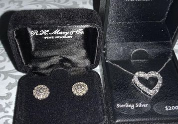 1/5 CT. Diamond Necklace And Earring Set for Sale in Clovis,  CA