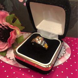 Unique Orange Opal Ring Channel Set On Plated Black Gold Center Emerald Cut Opal With White Round Sapphire Accents Sz7 for Sale in Macedonia,  OH