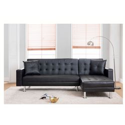 Brand New Black Tufted Faux Leather Sectional Sofa for Sale in Pomona,  CA