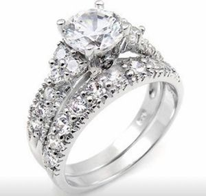 New Exquisite Women's Jewelry 925 Sterling Silver Full Diamond Ring Wedding Engagement Ring Set White Sapphire Ring Size 7&8 for Sale in Moreno Valley, CA