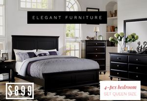 Queen Size Bedroom Set 4pc- Recamara Queen de 4pc @Elegant Furniture for Sale in Fresno, CA