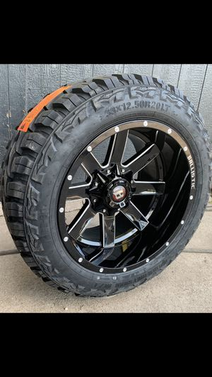 "New 20x12 Black Off Road Rims And New Tires 20"" Wheels 20 Rines y Llantas Super Duty F250 F350 Ford F150 , Chevy Silverado, GMC Sierra , Toyota Tacom for Sale in Dallas, TX"