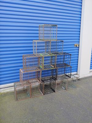 Vintage Farmhouse Industrial Wire Milk Crates Storage Bookshelve Cubes for Sale in Brookfield, CT