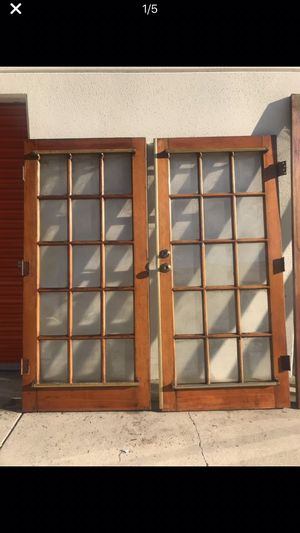 Antique Wood and glass Pocket doors with brass fixtures. for Sale in Clovis, CA