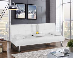 BRAND NEW White Leather Futon/ Couch with Cup Holders for Sale in Secaucus, NJ