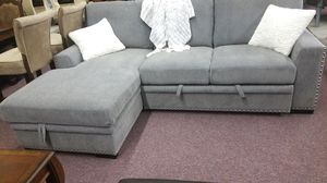 Fabric Grey Sectional Sleeper with storage chase for Sale in Federal Way, WA
