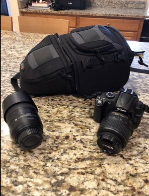 Nikon D5000 with 2 lenses and backpack for Sale in Holland, PA
