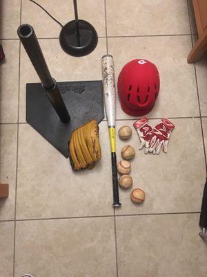 Baseball equipment bat,glove,batting gloves,5balls,helmet and T for batting for Sale in TWN N CNTRY, FL