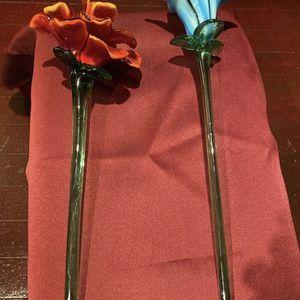 Lot of Two Murano Long Stem Hand Blown Glass Flowers for Sale in Atlanta, GA