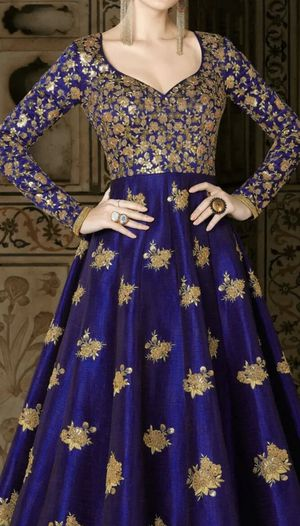 Indian/Pakistani dress :Salwar Kameez in Blue & Gold with zari work; for Sale in St. Louis, MO