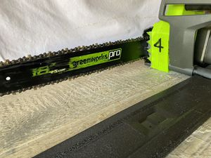 """Green works 18"""" electric corded chain saw in excellent condition. Used slightly Comes with the charger missing battery not included for Sale in Las Vegas, NV"""