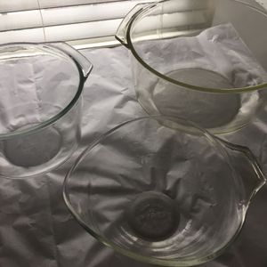 3 vintage Pyrex clear glass mixing bowls all for $60 for Sale in Lancaster, OH