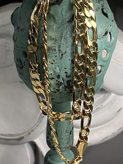 "18k GPL Men's Figaro Chain Necklace 24"" 9mm for Sale in Nashville,  TN"