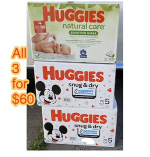 huggies size 5 diapers with wipes bundle for Sale in Oakland, CA