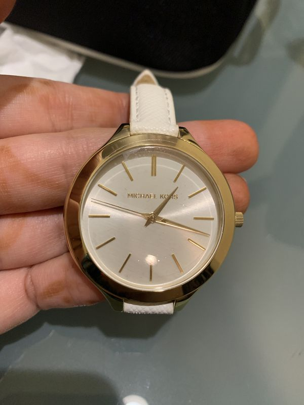 Mk white leather band watch brand new with box