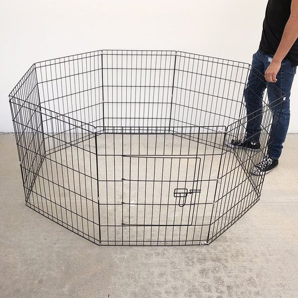 """(NEW) $35 Foldable 30"""" Tall x 24"""" Wide x 8-Panel Pet Playpen Dog Crate Metal Fence Exercise Cage Play Pen"""