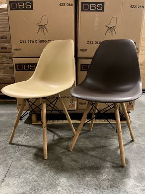 "NEW $25 each Mid Century Modern Eames Style dining leisure DSW 18 wide x 31 inches tall seat height 17"" chair 5 colors beige white black grey or brow for Sale in Whittier, CA"