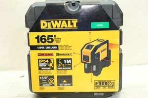 DEWALT 165 ft. Red Self-Leveling 5-Spot & Horizontal Line Laser Level with (3) AA Batteries & Case for Sale in Bakersfield, CA