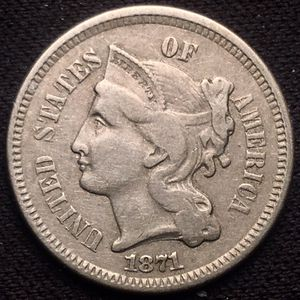 Beautiful Better Date 1871 Full Column 3 Three Cent Nickel - LOOK! for Sale in St. Charles, IL