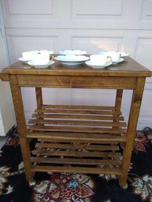 vintage wooden kitchen cart island cabinet table for Sale in Phoenix, AZ
