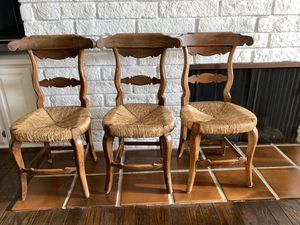 3 Antique Wood Chairs w/ woven straw seat for Sale in Beverly Hills, CA