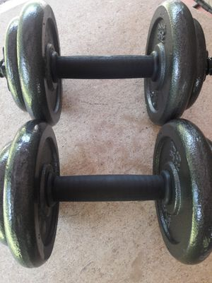 Brand New Set of Standard Solid Steel Dumbbell Handles with Weights & Spinlock Collars for Sale in North Miami, FL