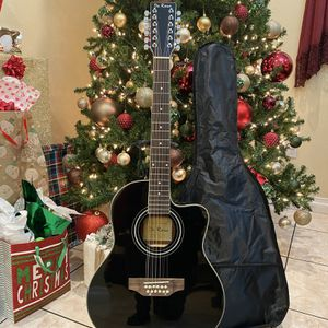 black de rosa 12 string electric acoustic guitar with case cable and strap for Sale in Bell Gardens, CA