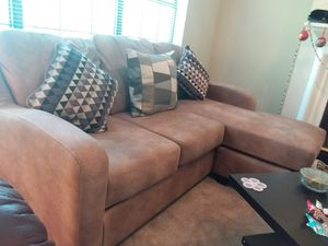 LEATHER L-shape CHOCOLATE SECTIONAL SOFA WITH ACCENT PILLOWS AND REVERSIBLE CHAISE bought from Nebraska furniture! for Sale in Plano, TX